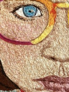 Embroidery art by Kelly Darke, titled Shelby.